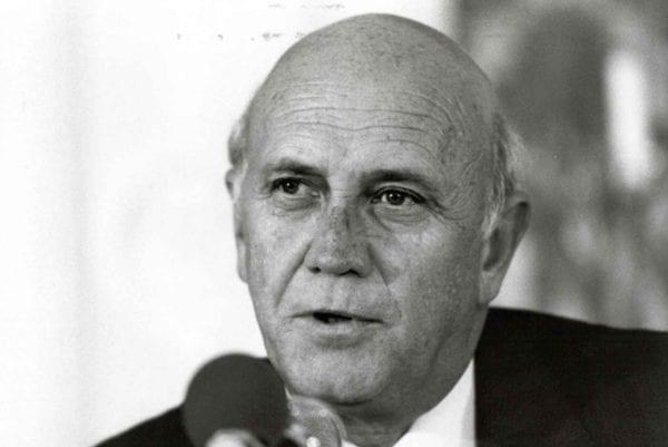 Former South African President F.W. de Klerk