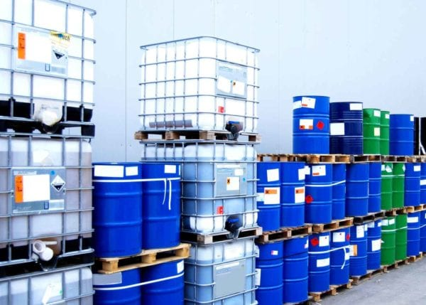 Chemical Containers at a Chemical Plant Jobsite