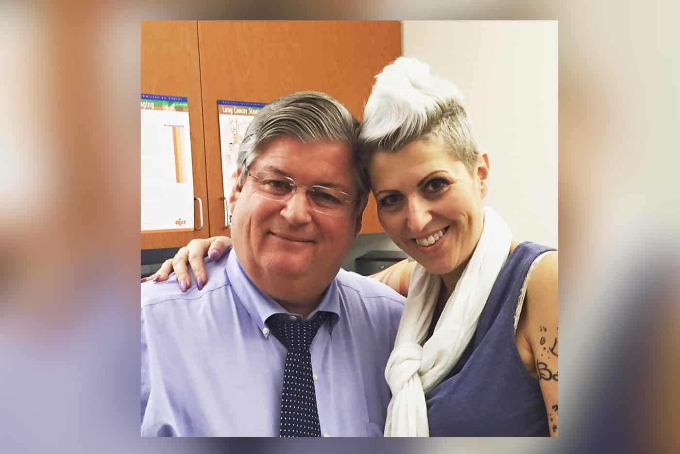 The late Dr. David Sugarbaker and mesothelioma survivor Heather Von St. James
