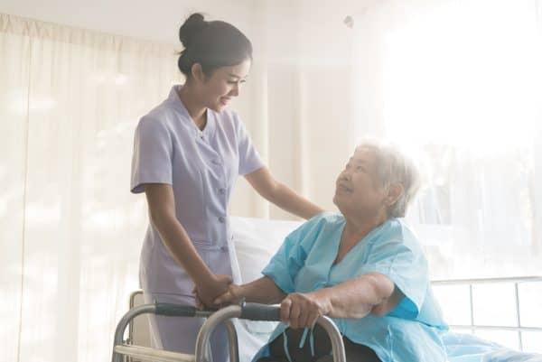 Nurse and cancer patient