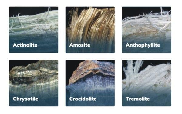The six types of asbestos.
